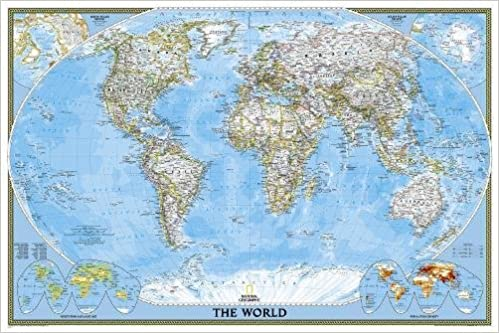 World Classic Poster Size Tubed Wall Maps World National - Wall maps of the world