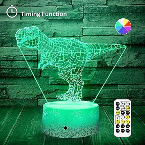[Wall Adapter Included] Remote & Touch Control LED Dinosaur Night Light with Timer Dimmable Bedside Table Desk Lamp 7 Color Changing Nightlights for Boys Birthday Christmas Gift Home Decoration by SINYWON