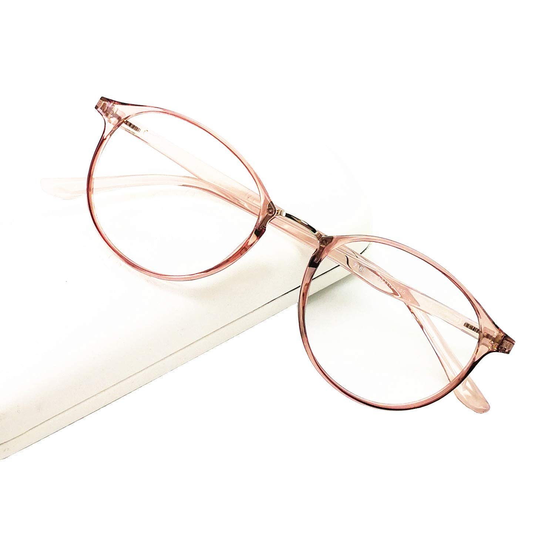 Blue Light Blocking Glasses Computer Reading Eyeglasses Readers for Women Men Round Light Weight(Light Brown, 1.75)