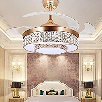 Tipton Light Ceiling Fans 42 Inch 4 Retractable Blades LED Fan Crystal Chandelier With Remote Control Has Three Change Colors White LightWarm