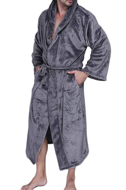 Batas Mujer Hombre Otoño Invierno Unisex Pareja Kimono Elegantes Moda Color Sólido Ropa Casual Pijamas Mujer Manga Larga V-Cuello con Bolsillos Cinturón ...