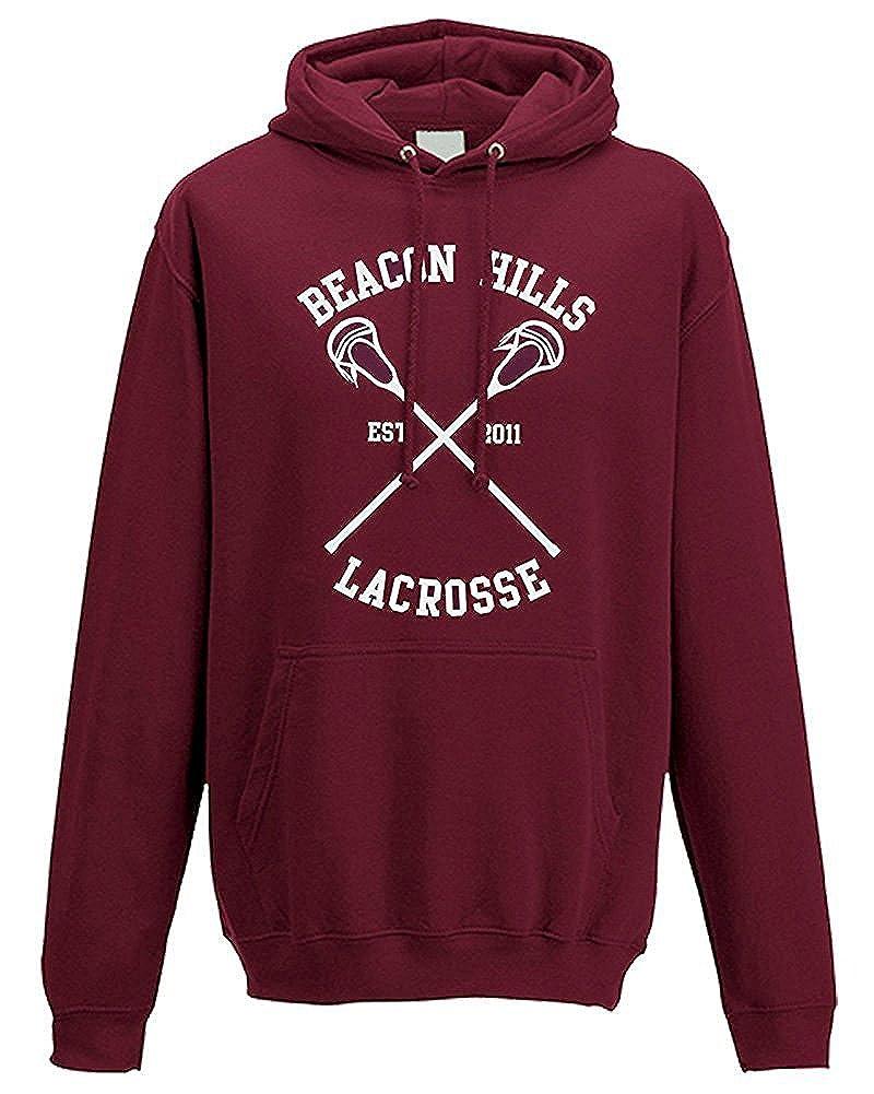Donna Uomo Autunno Inverno Moda Felpa con Cappuccio Beacon Hills Lacrosse Manica Lunga Hooded Hoodies Sweatshirt Pullover Tops Rosso STILINSKI 24 EU S