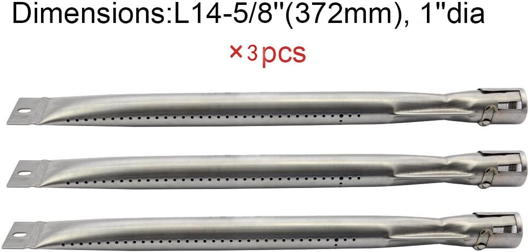 Grill King 14251 BBQ Parts Gas Grill Replacement 14.6 Inch Straight Stainless Steel Burner 1
