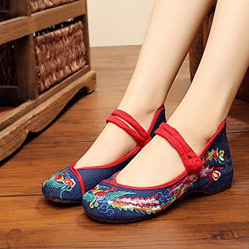 KAFEI Frauen bestickte Schuhe Tanz tuch Frühjahr und Herbst Flachbild atmungsaktiv Freizeitaktivitäten runden flachen Mund täglich, 37, J