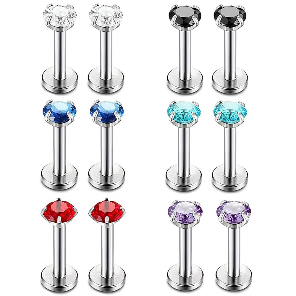 Stainless Steel 16G Labret Monroe Cartilage Helix Tragus Tongue Nose Rings Studs 6MM Body Piercing Jewelry with Cubic Zircon Yi Niao 16G Stainless Steel Tragus Earring 3MM CZ Labret Monroe Lip Rings Nose Studs Body Jewelry Piercing Pack of 6 Pairs 6MM,8MM