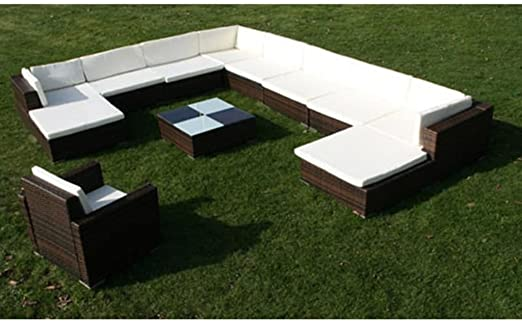Tidyard Conjunto Muebles de Jardín de Ratán 35 Piezas Sofa Jardin Exterior Sofas Exterior Jardin Ratan Conjunto Jardin para Jardín Terraza Patio en Poli Ratán Marrón: Amazon.es: Hogar