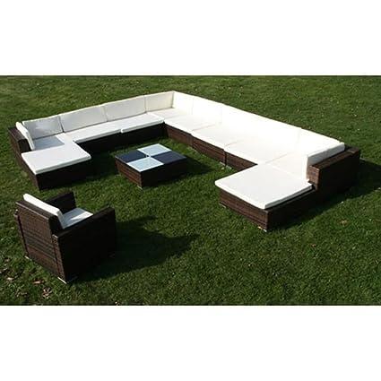 Tidyard Conjunto Muebles de Jardín de Ratán 35 Piezas Sofa ...