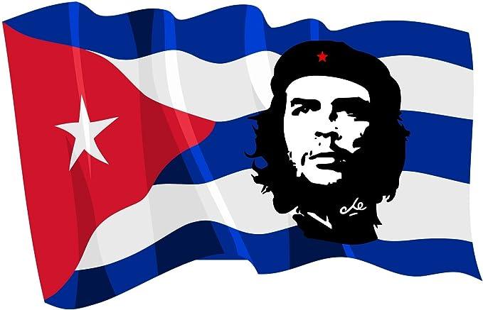 Etaia 10x15 Cm Auto Aufkleber Che Guevara Roter Stern Revolution Auf Kuba Cuba Fahne Flagge Wehend Sticker Motorrad Auto
