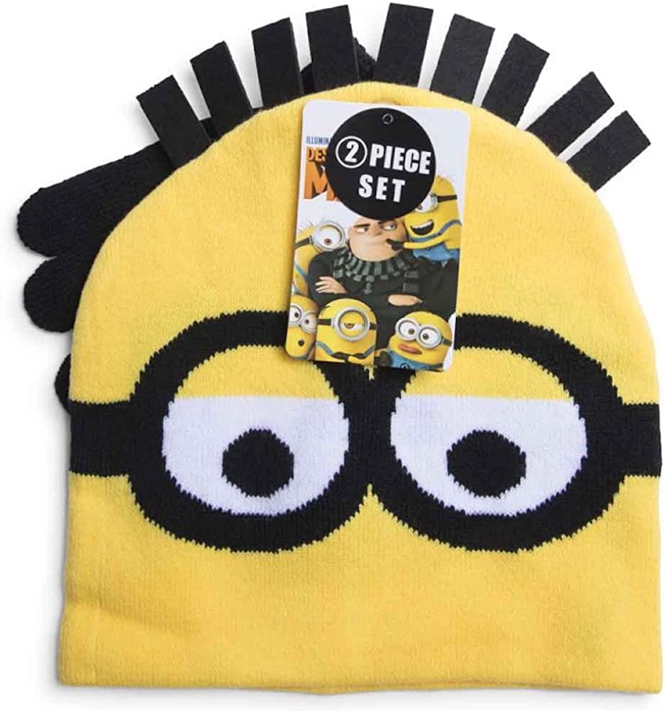 Despicable Me 3 Minions 2 Piece Hat and Gloves Set Kids Youth