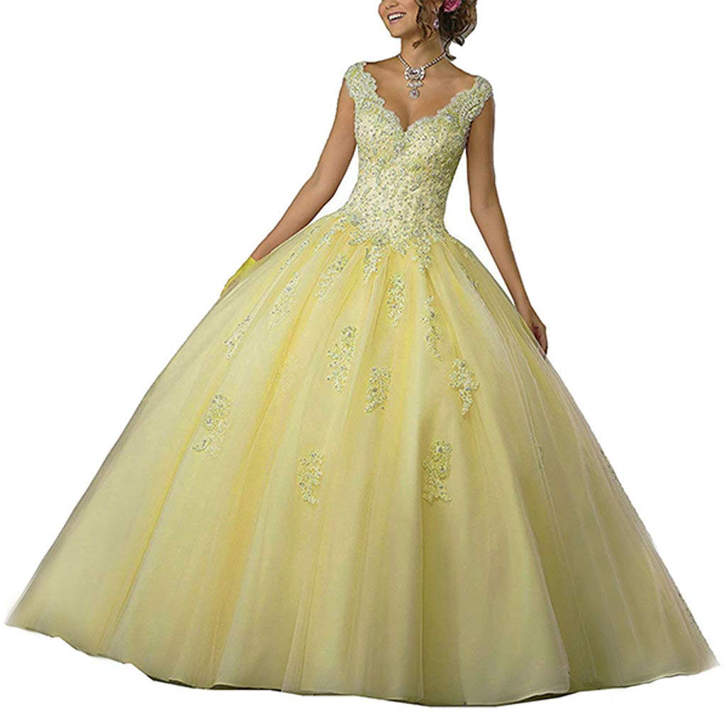 9fdfc2f5b2 Yellow Vantexi Women's VNeckline Lace Beaded Sweet 16 Gown Quinceanera  Dress Applique Ball nxaney5328-Prom & Homecoming
