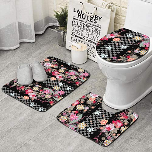 - Memory Foam Bathroom Mat Super Absorbent Floral Ornament Exotic Flowers And Leaves Checkerboard Rug Set Super Cozy Toilet Rug U-Shape Toilet Mat Slow Rebound No Fading Thick Bathroom Rug Carpet