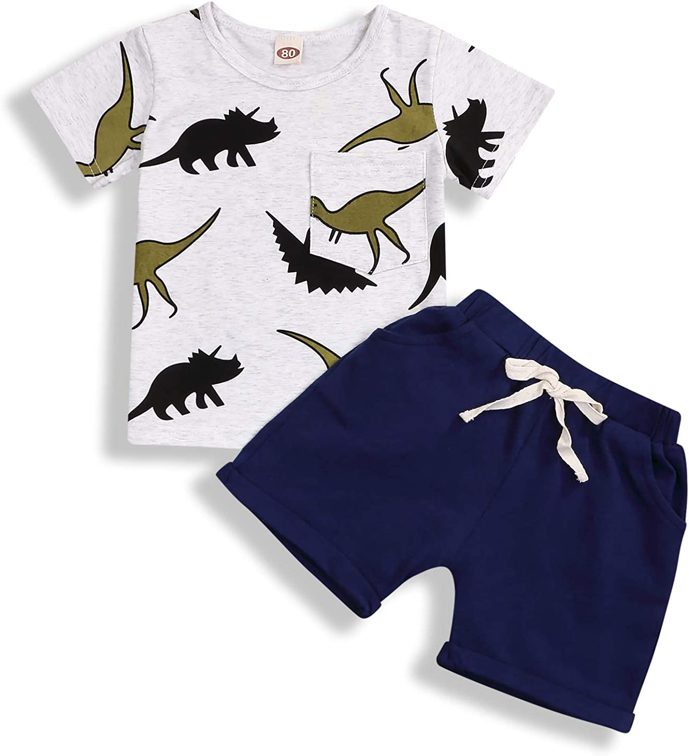 Toddler Baby Boy Summer Outfits Dinosaur Print Shirt Top Short Pants Cotton Clothes Sets