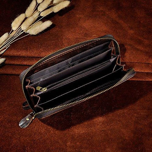 Le'aokuu Carteras de moda para hombre bolsa de mano monederos de piel genuina Organizadores de bolsos Café Dragón