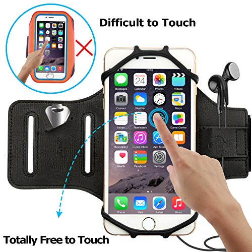 Simptech Running Phone Armband for iPhone X/8/7/6/6S Plus, Galaxy S8/S7/S7 Edge,180°Rotatable Design with Key Holder Ideal for Workout Jogging Hiking Biking by Simptech (Image #3)
