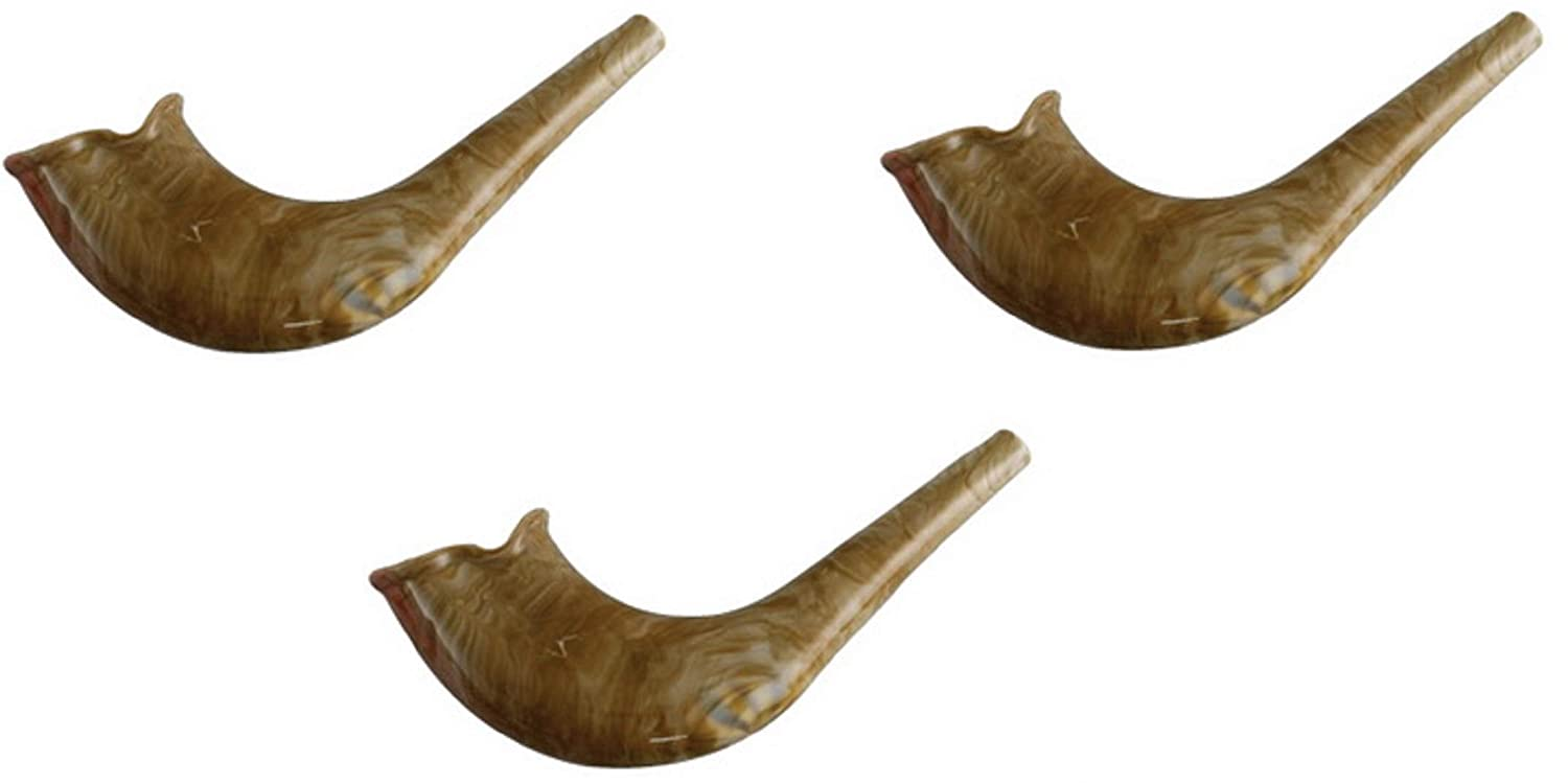 Quality Judaica Authentic Look Plastic Toy Shofar with Whistle 3-Pack