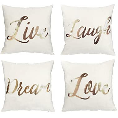 Juvale Throw Pillow Covers - 4-Pack Decorative Couch Pillow Cases Live Laugh Love Dream Rose Gold Prints Girls, Home DecorCushion Covers, White, 17 x 17 inches