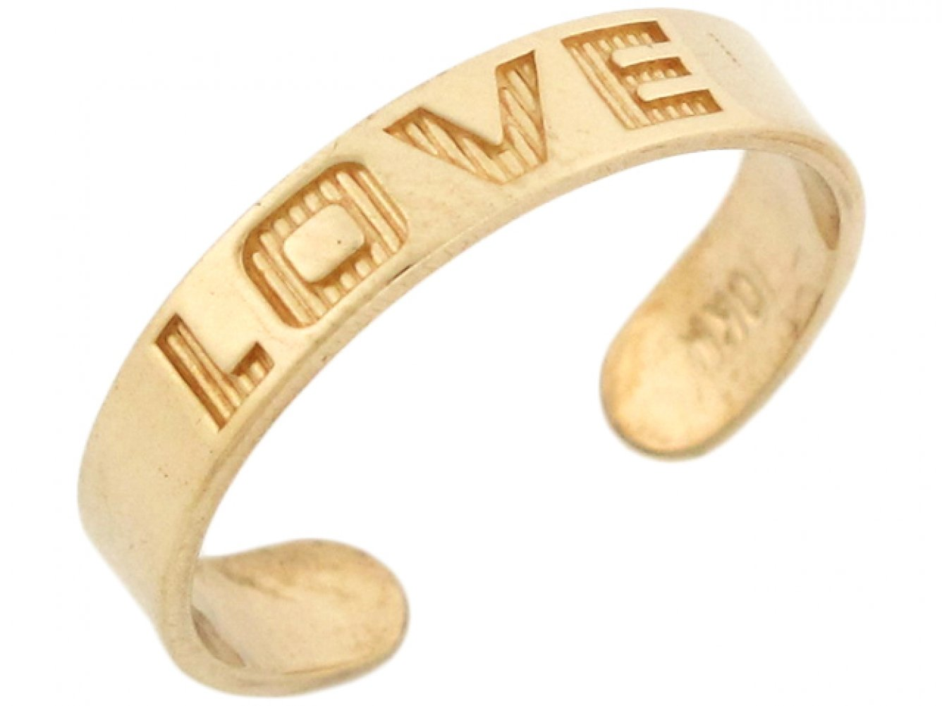 14k Solid Yellow Gold Love Toe Ring by Jewelry Liquidation (Image #2)