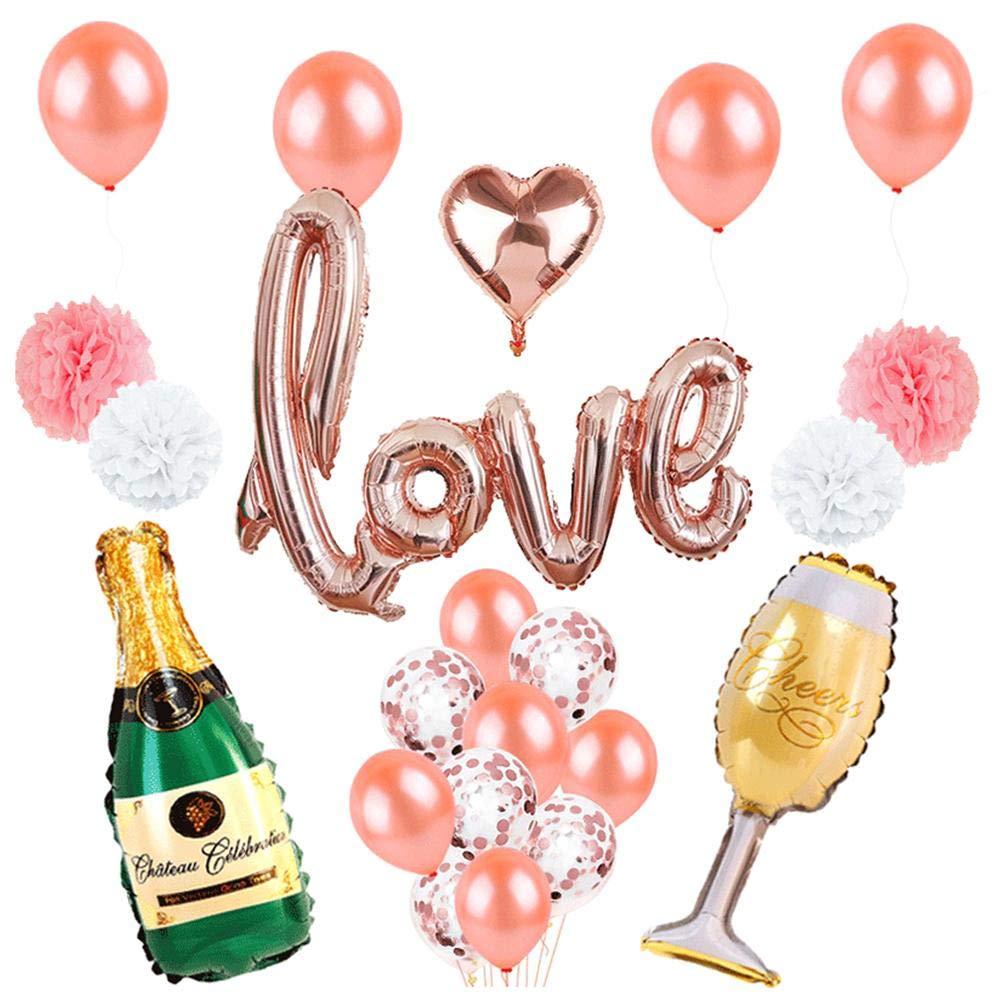 Wetour Amour Ballon kit Rose Feuille d'or Coeur Ballons de Mariage décorations Cadeau pour Elle ou Lui