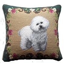 "Floral Border Bichon Frise Dog Portrait Wool Needlepoint Throw Pillow - 14"""