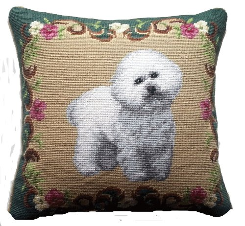Floral Border Bichon Frise Dog Portrait Wool Needlepoint Throw Pillow - 14