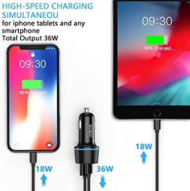 UOEOS 36W USB C Charger,Dual Port QC 3.0 /& PD Car Adapter Compatible with iPhone 11//Pro//Max//XR//XS//8//8P,Note 10//S10//S9,Pixel 4//3//2//XL Car Charger Adapter