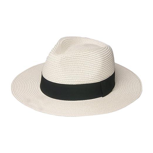 b8126ee7ce8 Paladoo Summer Sun Hat Beach Cap Wide Brim Straw Hats 1-Ivory at Amazon  Women s Clothing store