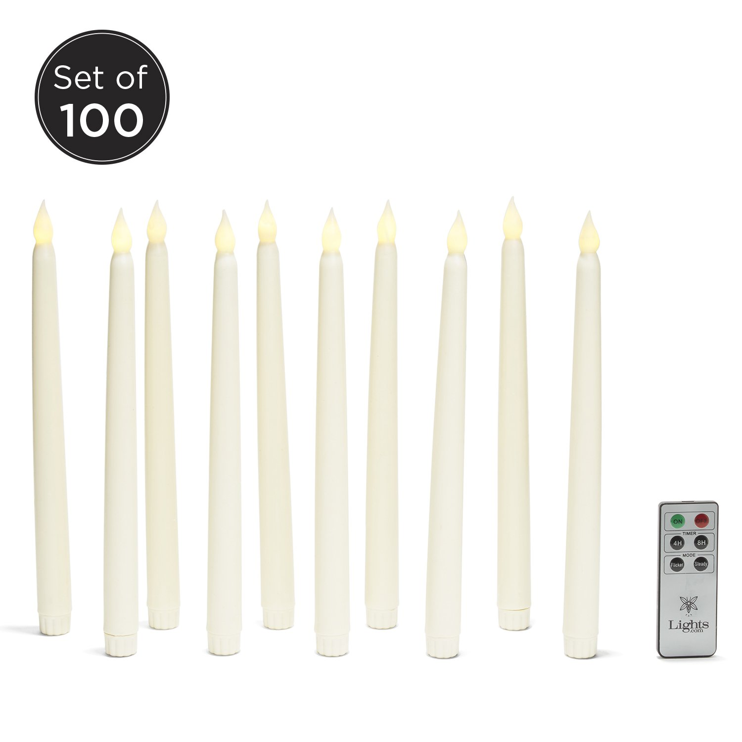 Set of 100 Smooth Ivory 10'' Realistic Flameless Wax Vigil Taper Candles with Warm White Bright LEDs, Batteries Included- BULK VALUE SET!