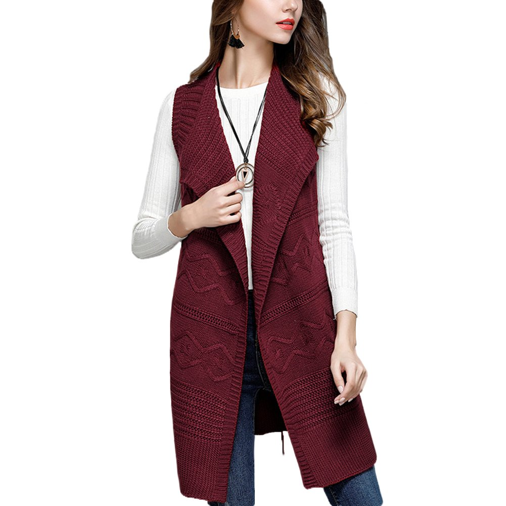Zerlar Lapel Open-front Knitted Long Cardigan Sweater Sleeveless Vest For Women