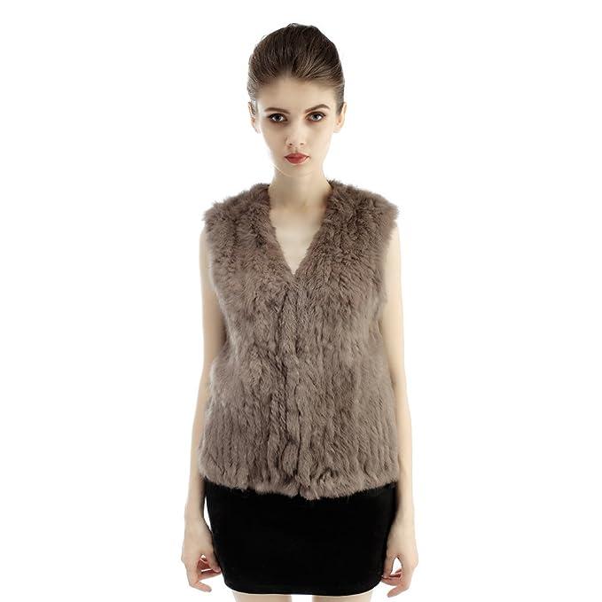 Abrigo tejido de moda muchacha de piel de Rex conejo para mujer: Amazon.es: Ropa y accesorios