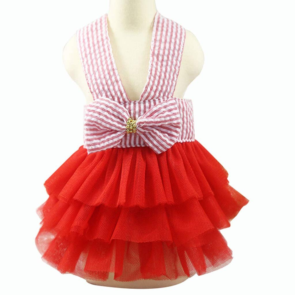 3 XS  3 XS PLDDY Pet Clothes, Pet Puppy Small Dog Clothes Veil Summer Cute Fresh Bow (color    3, Size   XS)