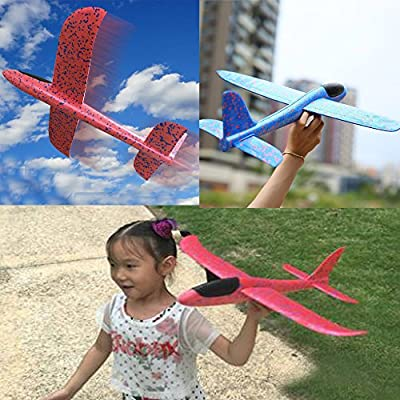 YEKEYI Throwing Glider Inertia Plane Foam Aircraft Toy Hand Launch Airplane Model for Kid Funny Flying Toy (Yellow): Sports & Outdoors