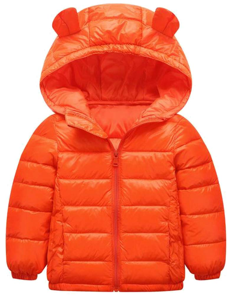 Wofupowga Boy Hoody Zip Quilted Fashion Lightweight Down Jacket Parka Coat Orange 5T