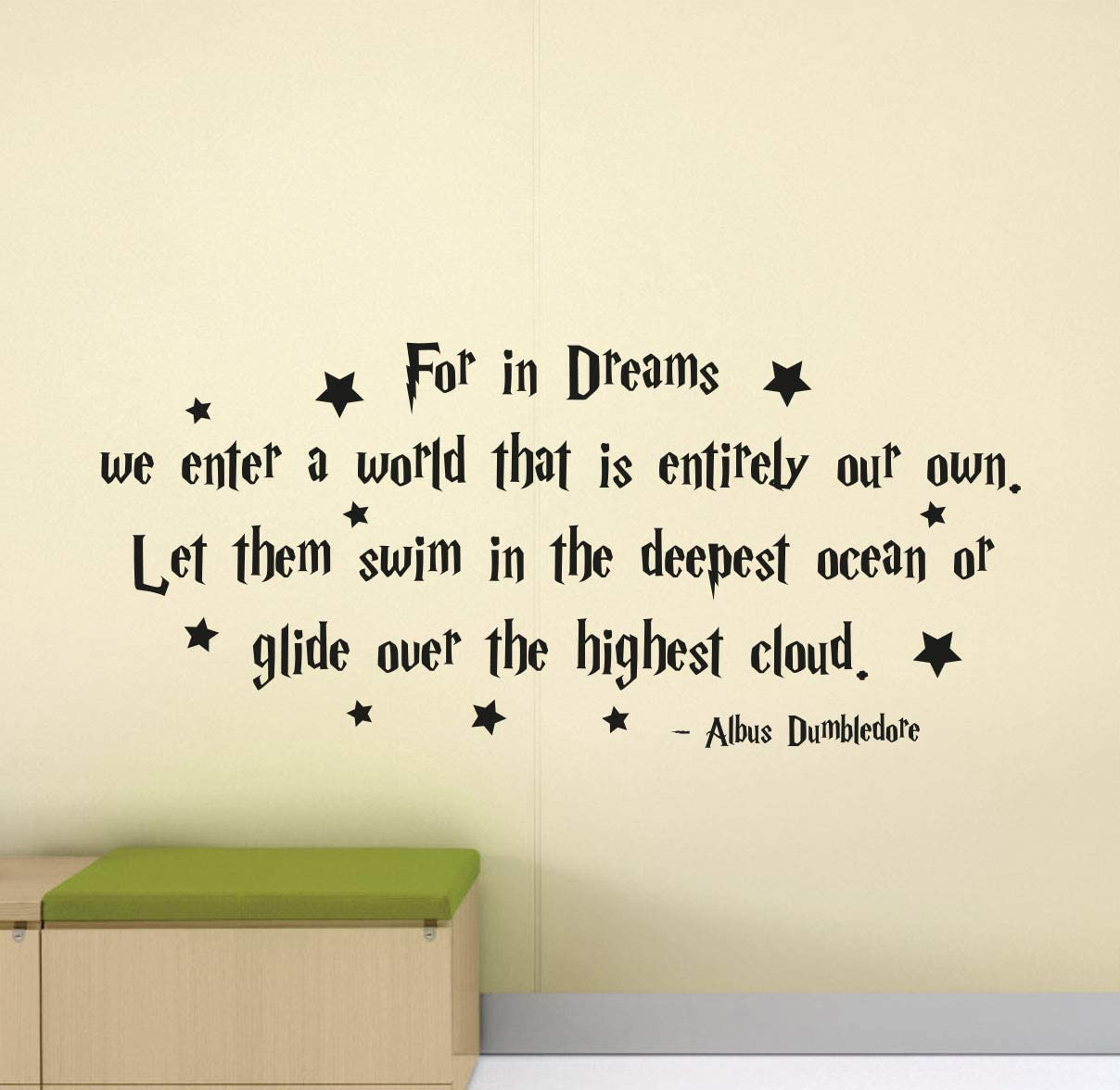 for in Dreams We Enter a World That is Entirely Our Own Wall Decal Quote Vinyl Poster Home Bedroom Wall Art Nursery Wall Decor Sticker Home Inspirational Quotes Mural Removable Print 1098