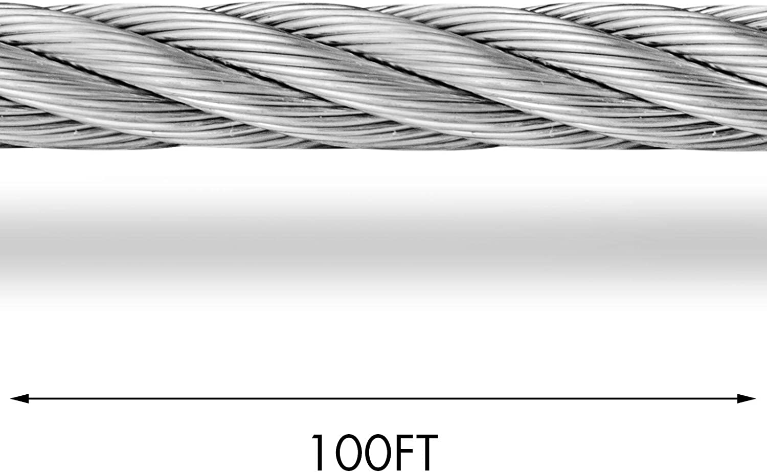 Mophorn 316 Stainless Steel Cable 1//4 in 7 X 19 Steel Wire Rope 100Ft Steel Cable for Railing Decking DIY Balustrade 0.25 in 100FT 7X19 T316