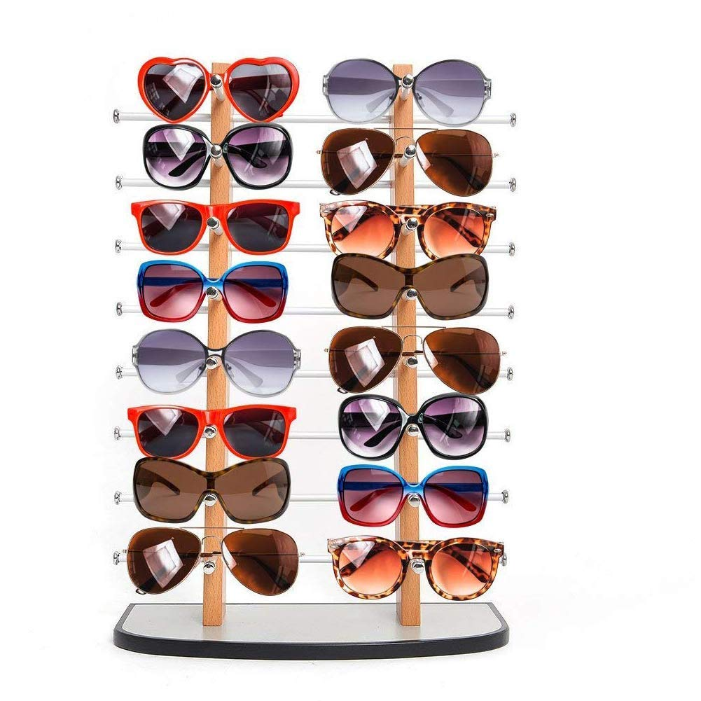 Sunglass Display, Amzdeal Wooden look laminate Sunglasses Display Rack, Eyewear Display up to 16 glasses COMINHKPR91700