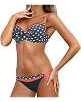Nulibenna Women's Retro Polka Dot Push up 2 Piece Bikini Set Bathing Suit