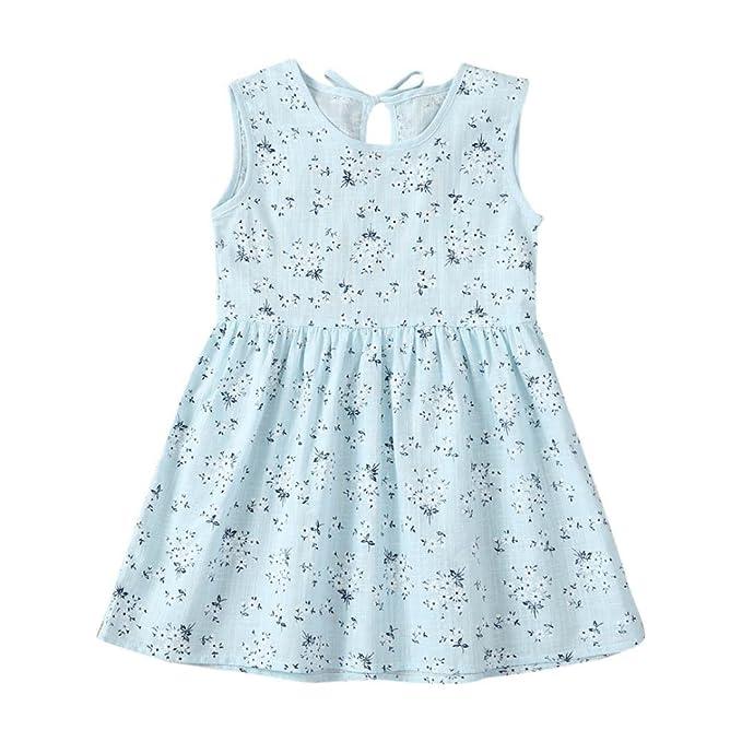 vestidos de niña, ASHOP Vestido sin mangas patrón floral vestidos de fiesta princesa niña Vestido de Tutú casual vestido de verano Ropa para 0-4 años: ...