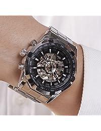 Luxury Men Steampunk Skeleton Stainless Steel Automatic Mechanical Wrist Watch (Black)