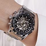 Luxury Men Steampunk Skeleton Stainless Steel Automatic Mechanical Wrist Watch (Black)