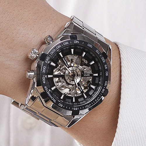 (Luxury Men Steampunk Skeleton Stainless Steel Automatic Mechanical Wrist Watch (Black))