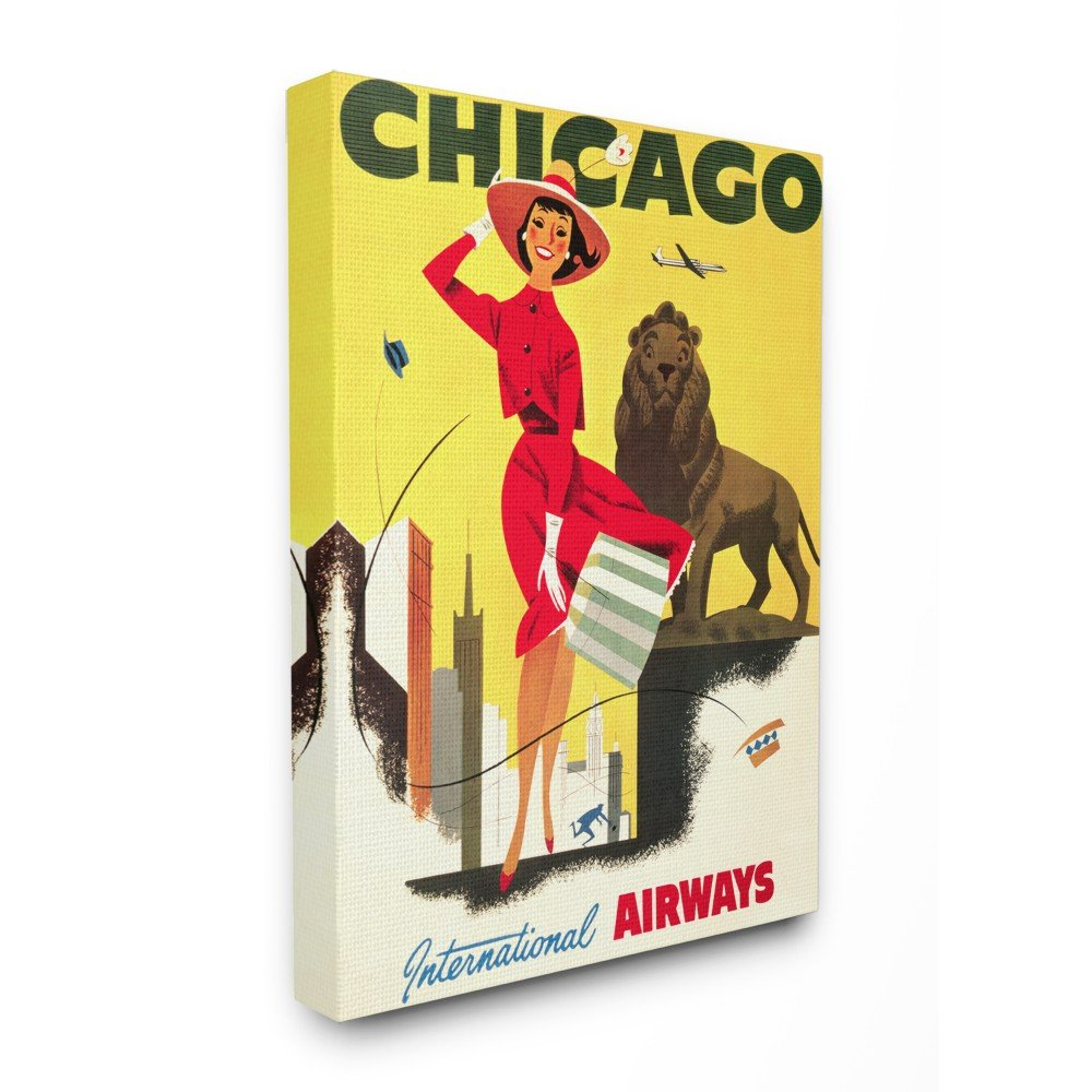 13 x 19 Multi-Color The Stupell Home Decor Collection Vintage Chicago Airways Poster Wall Plaque Art