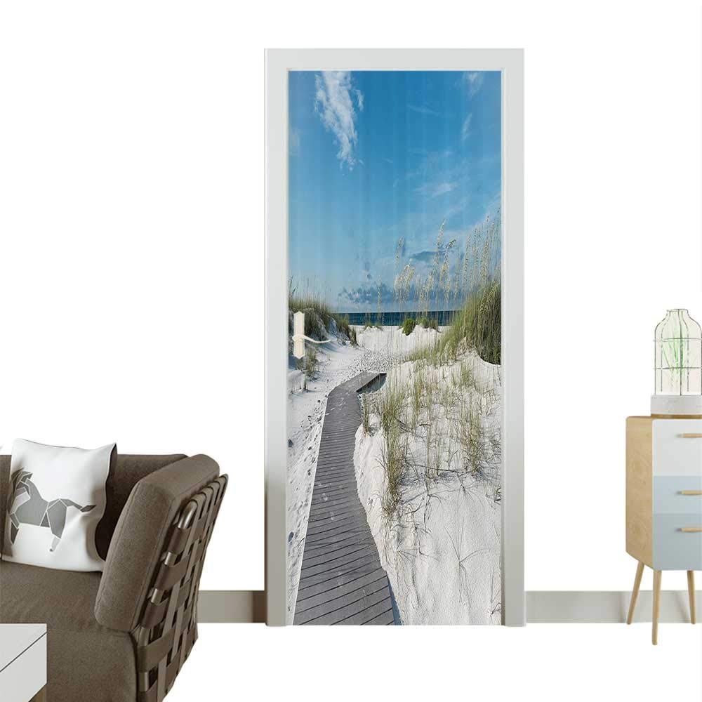 3D Door Decals ACH Pathway Heads to The Water in Florida Santa Rosa Island Summer Travel Self Adhesive Door DecalW38.5 x H77 INCH