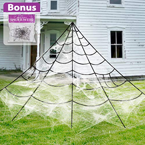 Pawliss Halloween Decorations Outdoor, Giant Spider Web with Super Stretch Cobweb Set Yard Decor, Black, 16 feet]()