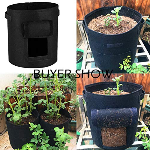 QAZSE Potato Grow Bags 7 Gallon 3 Pack Non-Woven Aeration Fabric Plant Bags Vegetable Flower Smart Pots with Flap and Handle