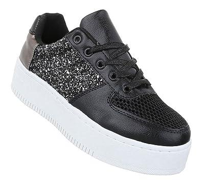 b46d0db5c0 Schuhcity24 Damen Low Sneakers | Sneaker Flach | Sportliche Glitzer ...