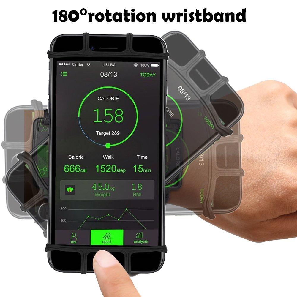 6S Note 9 XS XS Max 7 Plus Negro 8 Plus 7 Samsung S9 Plus XR Universal para iPhone X Note 8 180/°Giratorio Ajustable Bovon Brazalete Deportivo Ideal para Correr Running Gimnasio Curso