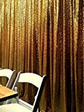 12FTx12FT-Gold-Shimmer Sequin Fabric Photography Backdrop, Sequin Curtain Backdrop, Lined to Prevent Transparency, 12FT Wide Home Decor Backdrop/Curtains/Panels~m1208 (Gold)