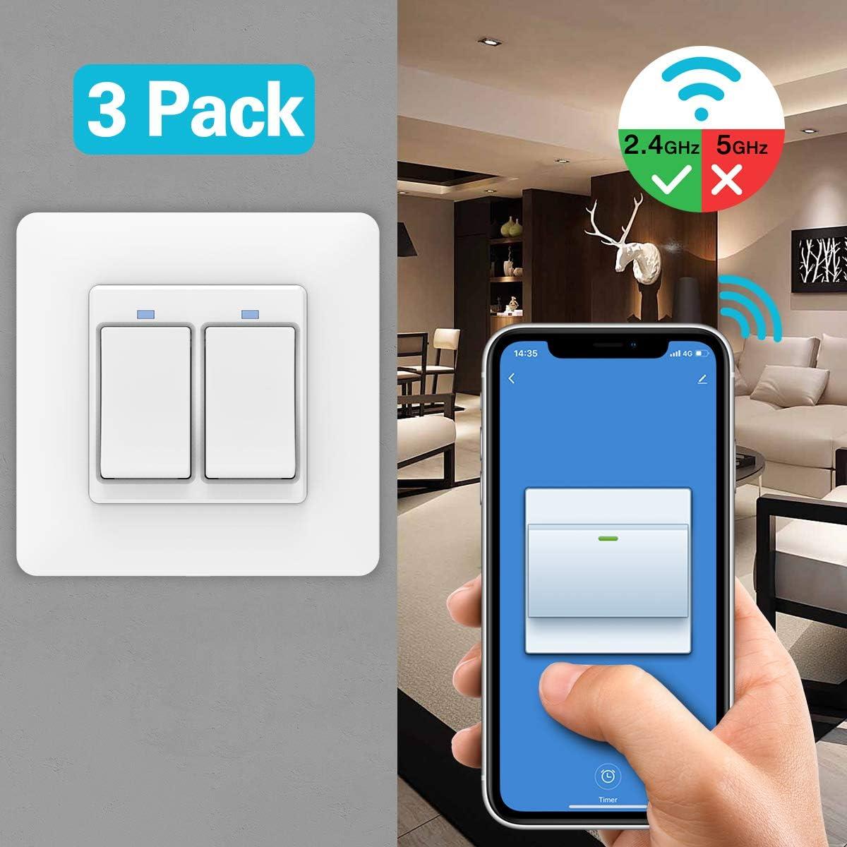 IFTTT Temporizador Blanco WiFi Interruptor de Luz Funciona con Alexa Solo 2.4GHz Red Google Home 3 PZS Atajos de Siri Control Remoto//Voz MoKo WiFi Interruptor Inteligente de Pared,