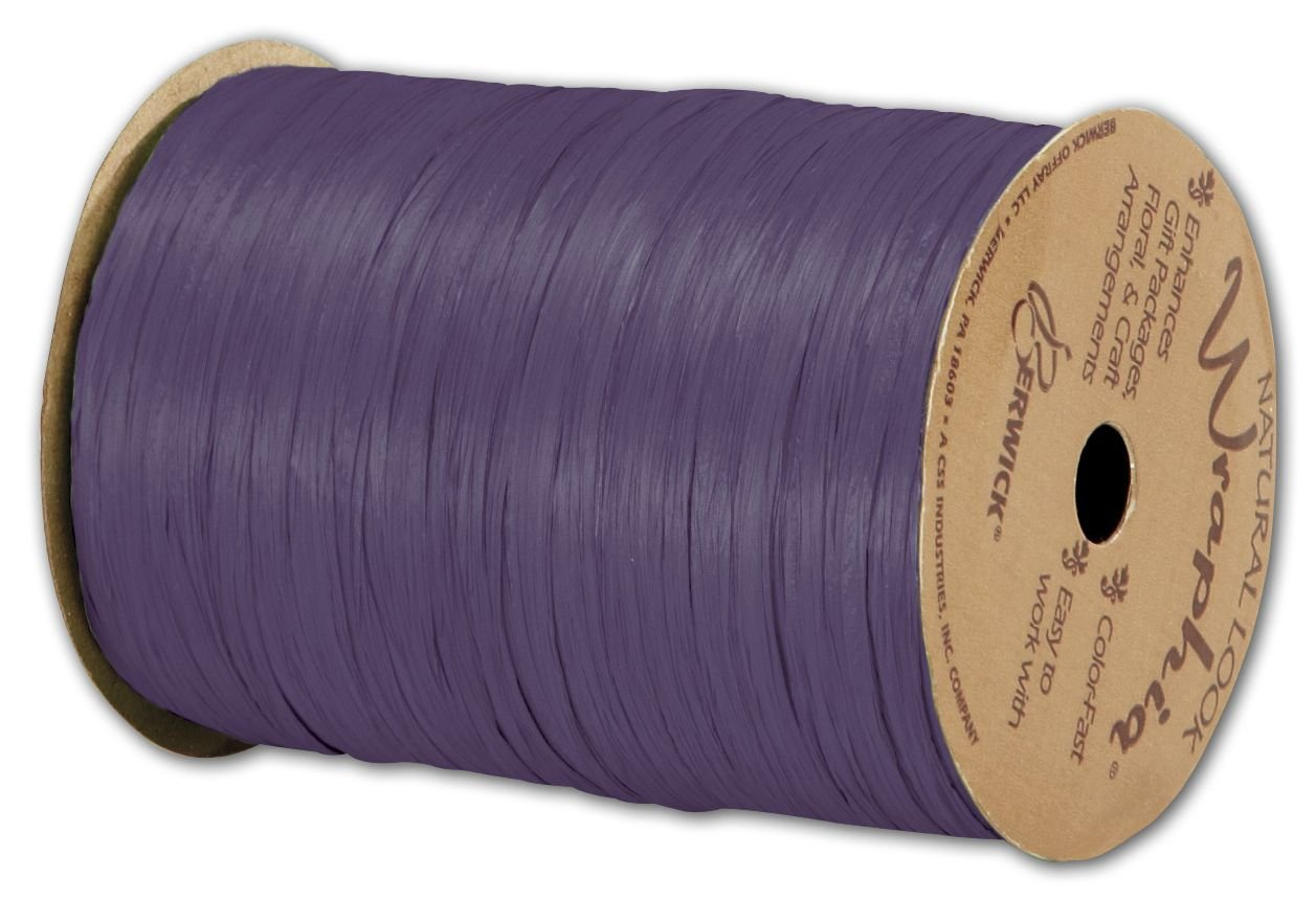 Solid Raffia - Matte Wraphia Plum Ribbon, 1/4'' x 100 Yds (3/pack) - BOWS-74900-50 by Miller Supply Inc