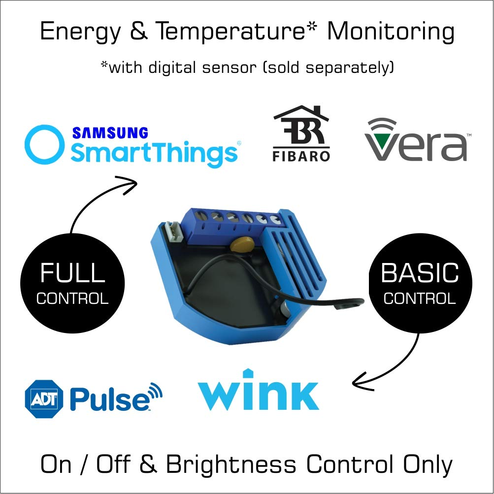 Vera Qubino Z-Wave Plus 1 Relay Switch and Energy Monitor ZMNHAD3 SmartThings Compact Design The Smallest in The U.S. Works with Wink and More